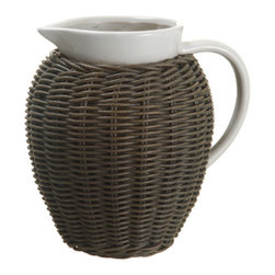 Silk Plants Direct - Silk Plants Direct Ceramic and Wicker Pitcher (Pack of 1) - Silk Plants Direct specializes in manufacturing, design and supply of the most life-like, premium quality artificial plants, trees, flowers, arrangements, topiaries and containers for home, office and commercial use. Our Ceramic and Wicker Pitcher includes the following: