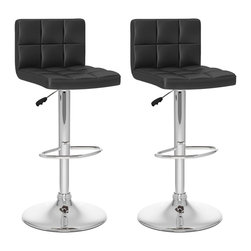 Sonax - Sonax CorLiving High Back Bar Stool in Black Leatherette (Set of 2) - Sonax - Bar Stools - B407UPD - Add spice to any bar or kitchen island with the Bar Stool with padded seat and stylish high back rest. Features Black soft tufted leatherette upholstery, chrome foot rest, chrome gas lift and chromed base. The contemporary design will accent any decor setting while offering the option to adjust to variable bar heights with ease. A great addition to any home!