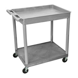 "Luxor - Luxor Tub Cart - TC12-G - These Luxor TC series utility carts are made of high density polyethylene structural foam molded plastic shelves and legs that won't stain, scratch, dent or rust. Features a retaining lip around the back and sides of flat shelves. Includes four heavy duty 4"" casters, two with brake. Has a push handle molded into the top shelf."