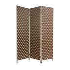Oriental Furniture - 6 ft. Tall Island Outdoor Screen - Heavy duty, industrial quality outdoor screen, one of the toughest, most durable room dividers available, with simple, warm, earthy style elements. It's a great solution for constant use inside or outside. Buy two and set right next to each to provide as much privacy as a six panel screen, but lighter and more portable. The legs on the screen measure three inches tall.
