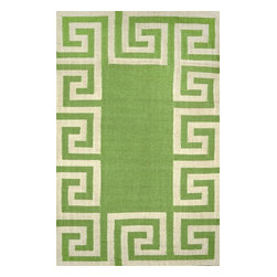 nuLOOM - nuLOOM Indoor/ Outdoor Flatwoven Greek Key Synthetics Rug, Mint, (7.6' X 9.6') - Material: 100% Polyester