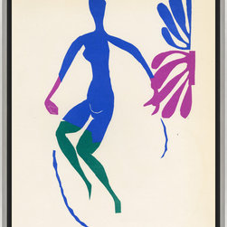 Soicher-Marin - Roger Sterling's Matisse A - Giclee print with a silver with grey highlights wooden frame with a black linen liner.  Includes glass, eyes and wire. Made in the USA. Wipe down with damp cloth