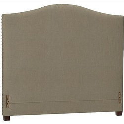 """Raleigh Nailhead Camelback Headboard, Cal. King, Twill Seagrass - Crafted by our own master upholsterers in the heart of North Carolina, our upholstered bed and headboard is available in a graceful camelback silhouette. Crafted with a kiln-dried hardwood frame. Headboard, footrail and siderails are thickly padded and tightly upholstered with your choice of fabric. Nailhead detail trims the outer edges of the headboard. Exposed block feet have a hand-applied espresso finish. Headboard also available separately. The headboard-only option is guaranteed to fit with our PB metal bedframe using the headboard hardware. Bed is designed for use with a box spring and mattress. This is a special-order item and ships directly from the manufacturer. To see fabrics available for Quick Ship and to view our order and return policy, click on the Shipping Info tab above. This item can also be customized with your choice of over {{link path='pages/popups/fab_leather_popup.html' class='popup' width='720' height='800'}}80 custom fabrics and colors{{/link}}. For details and pricing on custom fabrics, please call us at 1.800.840.3658 or click Live Help. View and compare with other collections at {{link path='pages/popups/bedroom_DOC.html' class='popup' width='720' height='800'}}Bedroom Furniture Facts{{/link}}. Crafted in the USA. Full: 57.5"""" wide x 83.5"""" long x 59"""" high Queen: 64.5"""" wide x 88.5"""" long x 59"""" high King: 80.5"""" wide x 88.5"""" long x 59"""" high Cal. King: 74.5"""" wide x 92.5"""" long x 59"""" high Full: 57.5"""" wide x 4.5"""" thick x 59"""" high Queen: 64.5"""" wide x 4.5"""" thick x 59"""" high King: 80.5"""" wide x 4.5"""" thick x 59"""" high Cal. King: 74.5"""" wide x 4.5"""" thick x 59"""" high"""