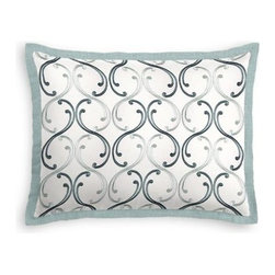 Aqua Embroidered Scroll Chain Custom Sham - Stay classy, America!  Add a few Tailored Shams with crisp solid edging to create a bedset with the perfect mix of contemporary style and classic elegance. We love it in this elegant, classic swirling chain-link trellis embroidered in shades of aqua.