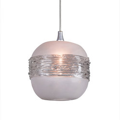 Shakuff - Saturn Glass Pendant Light - Saturn and her rings have never looked so good!  This frosted spherical pendant is made from handblown glass and dramatically wrapped with clear rings. Hang multiple orbs to create a stunning otherworldly effect.