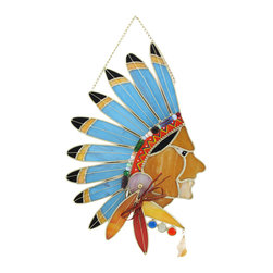 Zeckos - Stained Glass Native American with Headdress Wall Plaque Suncatcher - This colorful stained glass wall plaque features a regal Native American wearing a full feather headdress. It measures 12 inches tall, 9 1/2 inches wide, 3/4 of an inch deep and is crafted from beautiful pieces of colored glass with beaded accents. Display alone or in a group, on the wall or as suncatchers. NOTE: Suction cup not included.