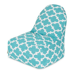 Majestic Home Goods - Teal Trellis Kick-It Chair - This Majestic Home Goods Navy Trellis Kick-It Chair will add style and functionality to your living room, dorm room or outdoor patio. This beanbag chair has the design of modern furniture, while still giving the comfort of a classic bean bag. Woven from outdoor treated polyester, these loungers are durable yet comfortable. The beanbags are eco-friendly and feature a removable zippered slipcovers. Spot clean with mild detergent and hang dry. Do not wash insert.