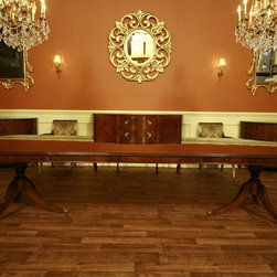 Traditional Antique Reproduction Brown Mahogany Dining Room Table (AP 7 WAL) - Fully expanded, this table can sit 12 to 14 people.