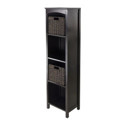 Winsome Wood - 5-Tier Storage Unit - Includes two small foldable baskets. Perfect to use alone or pair with baskets. Made from solid, composite wood. Dark espresso finish. Assembly required. Top shelf: 12.05 in. W x 10.63 in. D x 12.80 in. H. Other shelves: 12.32 in. H. Overall: 14.49 in. W x 11.81 in. D x 55.98 in. H