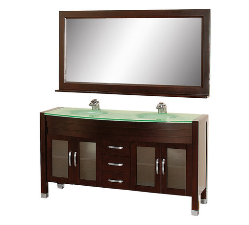Wyndham - Daytona 63in. Double Bathroom Vanity Set - Espresso/Green Glass - The Daytona 63 in.  Double Bathroom Vanity Set - a modern classic with elegant, contemporary lines. This beautiful centerpiece, made in solid, eco-friendly zero emissions wood, comes complete with mirror and choice of counter for any decor. From fully extending drawer glides and soft-close doors to the 3/4 in.  glass or marble counter, quality comes first, like all Wyndham Collection products. Doors are made with fully framed glass inserts, and back paneling is standard. Available in gorgeous contemporary Cherry or rich, warm Espresso (a true Espresso that's not almost black to cover inferior wood imperfections). Transform your bathroom into a talking point with this Wyndham Collection original design, only available in limited numbers. All counters are pre-drilled for single-hole faucets, but stone counters may have additional holes drilled on-site.
