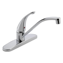 "DELTA FAUCET - P188200LF CHR 1H KITCH FAUCET - SINGLE HANDLE KITCHEN FAUCET  Single lever control for one-hand operation  Spout swivels 360 degrees for convenience  3-hole on 8"" center sink application  Washerless ball valve  Flow rate 1.8 gpm @ 60 psi  Spout length 9"" - height 8-5/8""  ADA Compliant      P188200LF CHR 1H KITCH FAUCET    FINISH:Chrome"
