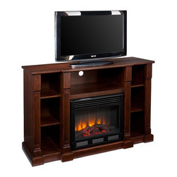 "Southern Enterprises Inc - Southern Enterprises Inc Murdock Media Electric Fireplace Espresso X-6839EF - This statuesque media fireplace is as charming as it is useful. The rich espresso finish, beautiful carved columns, and open design make this electric fireplace the ideal media solution. Three open shelves offer ample space for electronic components and game consoles. Two additional open shelves on each side provide storage for movies, games, and books or can be used to display your favorite treasures. Sections are split by gorgeous, carved columns with classic, squared bases. The center section extends an inch beyond the side sections giving the fireplace both focus and depth. The firebox has realistic, multicolor flickering flames and glowing embers with an interior brick design for a more lifelike look. This transitional fireplace is great for the living room and bedroom, and even adds a warm, romantic touch to the home office. This electric fireplace features energy efficient LED and requires no professional installation, making it a cost effective way to upgrade your living or media room. Easy to use remote control offers 4-way adjustability to warm the room conveniently. Safety features include automatic shutoff and glass that remains cool to the touch. Turn off the heat to enjoy the fireplace ambience year round! - FEATURES: - Accommodates a flat panel TV up to 50"" W overall - Includes 2 adjustable shelves and 5 fixed shelves - Offers 3 cord management openings - Espresso finish - PRODUCT SPECIFICATIONS: - Media shelf: 27.5"" W x 16"" D x 9"" H (23.5"" W opening) - Top shelves: 10"" W x 14"" D x 9"" H - Middle shelves: 10"" W x 14"" D x 10"" H (adjust 2"" up/down) - Bottom shelves: 10"" W x 14"" D x 8""/10""/12"" H - Approx. weight: 141 lb. - Supports up to: 75 lb. (mantel), 20 lb. (media shelf), 15 lb. (per shelf) - Materials: red oak, MDF, particle board, ash veneer, metal, glass, resin - Assembly required - Overall: 52"" W x 18"" D x 34.5"" H - FIREBOX: - Lifelike multicolor flames and burning logs with embers - Remote control adjusts thermostat, timer, logs, and flames separately with ease - Supplemental heat for up to 400 square feet - Classic brick style interior and optional down light illumination - Safe, self-regulating heater turns off when desired temperature is met - Conveniently plugs into standard wall outlet with 6' cord - Long life, energy efficient LED bulbs - Glass remains cool to the touch - Use without heater for year round enjoyment - Once powered off, logs and flames slowly turn down - Firebox front: 23"" W x 20"" H - Temperature ratings: 62-82 degrees at 4 degree intervals - Heating/power: 120V/60Hz, 1500W, 12.5 Amps - Batteries: 1 CR2025, included"