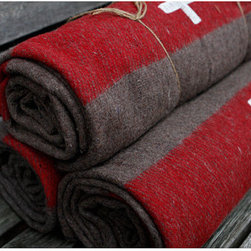 Swiss Army Wool Blankets by Ode To June - Keep warm by the outdoor fire with this Swiss-style blanket.