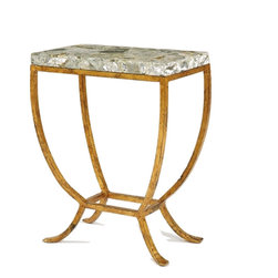 Our Collection - Original Accent Table - Curved legs in Gilt finish with a natural stone top.