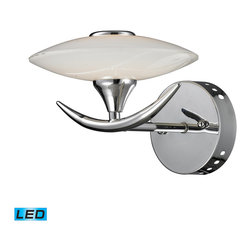 Elk Lighting - Catalana LED 1-Light Glass Wall Lamp - This Catalana LED 1 light bathroom vanity light combines sleek diffusers with a touch of nature-inspired forms. The saucer shaped opal white glass globes contain 5-watt LED lights and are supported by radically curved arms with tapered tips. A twig like center column enhances its natural character. Accommodates one 5-watt LED bulb. Comes with polished chrome finish. Measures 10-inch extended length by 8-1/2-inch width by 6-1/2-inch height.