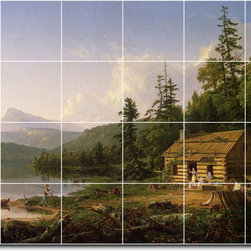 Picture-Tiles, LLC - Home In The Woods Tile Mural By Thomas Cole - * MURAL SIZE: 24x36 inch tile mural using (24) 6x6 ceramic tiles-satin finish.
