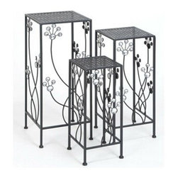 """BZBZ63344 - Set of 3 Square Metal Plant Stand 28"""", 24"""", 20""""H Patio Accents - Set of 3 Square Metal Plant Stand 28"""", 24"""", 20""""H Patio Accents. Some assembly may be required. Made with iron alloy. Size: 11""""x11""""x28"""""""