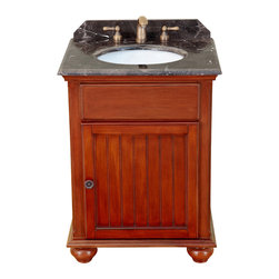"Bosconi - 25"" Bosconi T-3741 Single Vanity - Simple yet elegant, this Bosconi vanity is made with a beautiful Antique Red finish coupled with Dark Emperador Marble and unparalleled charm and appeal. It fulfills all of the basic needs that are required from a vanity. This model offers a single cabinet for storing toiletries and other products."