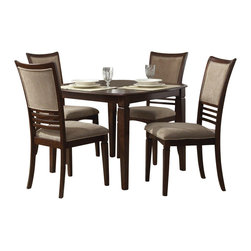 "Liberty Furniture - Liberty Furniture Davenport 5 Piece 42 Inch Square Dining Room Set in Medium Woo - Davenport changes the term ""casual dining"" to ""stylish dining"". Chairs tend to be the focus in dining and the Davenport chair is a nice combination of upholstery in a champagne chenille and wood horizontal slat accents. Tables feature fancy face 4 way match cherry veneers with softly rounded edges and tapered legs. What's included: Dining Table (1), Side Chair (4)."