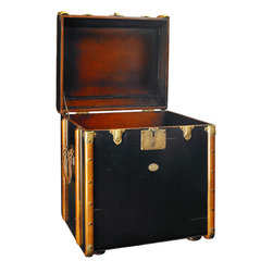 """Inviting Home - Trunk Side Table, black - Reproduction of Victorian luggage side table; 17-3/4"""" x 21"""" x 22""""H; Victorian luggage was made to be shipped by horse drawn coach and train travel. It was sent ahead and handled by porters only. The tall square shape of this """"end table"""" trunk was made to fit more easily into tight steamer and long distance train cabins. Plus it easily swallowed a tall black stovepipe hat... The classic maple hoops strengthened by brass corners and other hardware were designed to protect against damages. Enjoy the flavor of a bygone luxury age and combine it's fin-de-siecle appeal with practical storage!"""