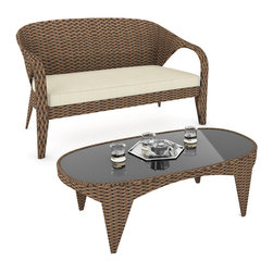 Sonax - Sonax Harrison Patio Sofa and Table - Relish your summer days and nights with this sofa and table combination in our two tone Pacific Bark weave. The Pacific Bark rattan is complemented by weather resistant foam seat cushions and covered with zippered and washable Latte Foam covers.