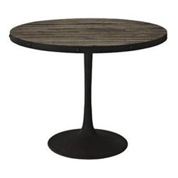 """LexMod - Drive Wood Top Dining Table in Brown - Drive Wood Top Dining Table in Brown - Deliberately implement down-to-earth aesthetics with the Drive industrial modern dining table. Fashioned on a cast iron pedestal base, the round pine top is braced in a rim of iron to connote progress amidst rustic conditions. In contrast to the standard four legged tables, the single stand variety has been gaining popularity over the past 60 years. Now with the resurgence of industrial modernism, the warehouse of yesteryear comes remodeled into its present stance as an artform. Set Includes: One - Drive Wood Top Dining Table Industrial modern dining table, Pine wood top (stained but not sealed) with iron rim, Cast iron pedestal base Overall Product Dimensions: 39.5""""L x 39.5""""W x 29.5""""H Thickness of Table Top: 1.5""""H Width of Legs: 19.5""""W - Mid Century Modern Furniture."""