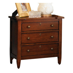 American Drew - American Drew Miller's Creek 3 Drawer Nightstand in Cherry - The large six legged dresser with a double bank of solid wood drawer fronts pairs with a three drawer nightstand and a panel bed with finals and overlay moldings. A bachelor�۪s chest with a gently curved front adds a touch of shape, along with the button tufted linen upholstered sleigh headboard. Interchangeable footboards allow optional looks with both headboards. The drawer chest features dividers for more organized storage, while the media chest offers a range of flexible storage. The rich, aged cherry finish has a clean, soft appeal, with moderate distressing. The rustic veneers and solids provide variations and visual interest to the simple lines of the pieces. The hardware consists of an antique brass ring pulls, knobs, and key escutcheons.
