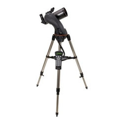 Celestron NexStar 90 SLT Computerized Telescope - Designed to be an affordable entry level to mid-level computerized GoTo telescope the NexStar SLT refractors reflectors and Maks are available in the most popular sizes and are loaded with valuable design features. With preassembled adjustable stainless steel tripods and quick release fork arms and tubes NexStar SLT telescopes can be set up in a matter of minutes – with no tools required! You can see details of the lunar surface Venus and its phases polar caps on Mars Jupiter and its four moons Saturn with its rings plainly visible and much more! Intelligent Design The internal battery compartment provides power to the high precision servo motors for rigid low-vibration performance while eliminating cord wrap issues associated with external battery packs. With the NexStar's ergonomically designed hand control the user is free to remove the hand control from its holder for remote use or leave it cradled for hands-free operation. With a touch of a button you can select the object catalog change the slew speed view fascinating information about an object or simply know if a desired object is visible in the sky. Features Proven NexStar computer control technology High quality 90mm Maksutov-Cassegrain Database allows telescope to locate over 4 000 celestial objects Fully computerized Altazimuth mount SkyAlign allows you to align on any three bright celestial objects making for a fast and easy alignment process Quick-release fork arm mount optical tube and accessory tray for quick no tool set up Flash upgradeable hand control software and motor control units for downloading product updates over the Internet Sturdy stainless steel tripod and accessory tray included Internal battery compartment to prevent cord wrap during use Includes CD-ROM The Sky Astronomy Software which provides education about the sky and printable sky maps About Celestron Maksutov-Cassegrain Telescopes Celestron's Maksutov-Cassegrain telescopes are similar to Schmidt-Cassegrain models in regards to ease durability versatility and minimal maintenance but trade smaller fields of view for better resolution in planetary observation. The Maksutov-Cassegrain is similar to the Schmidt-Cassegrain with essentially the same advantages and disadvantages. It uses a thick meniscus correcting lens with a strong curvature and a secondary mirror that is usually an aluminized spot on the corrector. The Maksutov secondary mirror is typically smaller than the Schmidt's which gives it slightly better resolution for planetary observing. Advantages of Maksutov-Cassegrain Compared to Schmidt-Cassegrain Smaller secondary obstruction results in a slight increase in planetary detail and contrast Less expensive to manufacture Longer focal lengths resulting in higher magnifications for planetary viewing Disdvantages of Maksutov-Cassegrain Compared to Schmidt-Cassegrain Slightly heavier because of the thick meniscus correcting lens Increased time to reach thermal stability in larger apertures over 90 mm Longer focal lengths resulting in smaller field of view