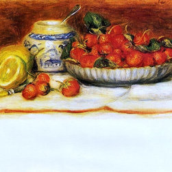 """Pierre Auguste Renoir Strawberries - 16"""" x 20"""" Premium Archival Print - 16"""" x 20"""" Pierre Auguste Renoir Strawberries premium archival print reproduced to meet museum quality standards. Our museum quality archival prints are produced using high-precision print technology for a more accurate reproduction printed on high quality, heavyweight matte presentation paper with fade-resistant, archival inks. Our progressive business model allows us to offer works of art to you at the best wholesale pricing, significantly less than art gallery prices, affordable to all. This line of artwork is produced with extra white border space (if you choose to have it framed, for your framer to work with to frame properly or utilize a larger mat and/or frame).  We present a comprehensive collection of exceptional art reproductions byPierre Auguste Renoir."""