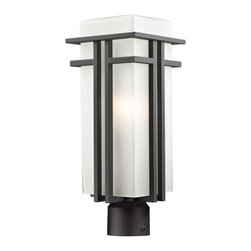 Z-Lite - Z-Lite Abbey Outdoor X-R-ZBRO-BHP055 - The geometric lines of the Abbey family combine well with contemporary home styling as well as homes in the craftsmen style.  This large outdoor post head fixture is made of steel  and finished in oil rubbed bronze with matte opal glass.