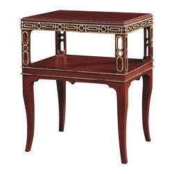 SUSANNAH SIDE TABLE - Oxford is the standard finish. Optional finishes available as 5488-70. Special Decoration pattern available in any Hickory Chair striping color and technique on any Alternative or Premium finish as 5488-40. Weathered Vermillion paint with Antique Rub Light Gold Special Decoration shown.