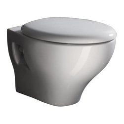 GSI - Round White Ceramic Wall Hung Toilet with Seat and Cover - Just the toilet for a more contemporary bath - begin with this toilet.