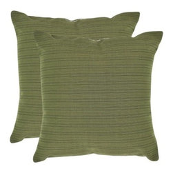 Safavieh Jeremy 20 in. Decorative Pillows - Bamboo Green - Set of 2 - With a soft, teetered look, the Safavieh Jeremy 20 in. Decorative Pillows - Bamboo Green - Set of 2 creates an area of interest and color in your home without overtaking the rest of your decor. Crafted from 100% polyester, these knife edged throw pillows have a secured zipper and a hypoallergenic fiberfill insert. Spot cleaning is recommended. About SafaviehConsidered the authority on fine quality, craftsmanship, and style since their inception in 1914, Safavieh is most successful in the home furnishings industry thanks to their talent for combining high tech with high touch. For four generations, the family behind the Safavieh brand has dedicated its talents and resources to providing uncompromising quality. They hold the durability, beauty, and artistry of their handmade rugs, well-crafted furniture, and decorative accents in the highest regard. That's why they focus their efforts on developing the highest quality products to suit the broadest range of budgets. Their mission is perpetuate the interior furnishings craft and lead with innovation while preserving centuries-old traditions in categories from antique reproductions to fashion-forward contemporary trends.