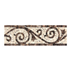 Stone & Co - Dark Emperador Marble - Crema Marfil Polished Art Border - Finish: Polished