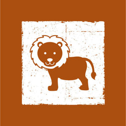 Homeworks Etc - Homeworks Etc Orange Lion Safari Jungle White Canvas Wall Art - For your Roaring Little Lion. This Jungle Animal themed Canvas Art is a classic design to add to your boys nursery.  Great for a baby shower or birthday gift.  It's light weight design is easy to hang.  Measures 10 x 10 x 1.5 inches.  Perfect for use in  a children's bedroom.