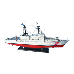 "Handcrafted Model Ships - USCG High Endurance Cutter 18"" - Wooden United States Coast Guard Model - Sold fully assembled"