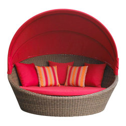 """Wicker Paradise - Outdoor Wicker Daybed - Santa Barbara - Did you ever daydream about lounging in your backyard in a big comfy outdoor wicker daybed?   Our Santa Barbara Outdoor Wicker Daybed is the answer to your dreams! High-density polyethylene wicker on an arc-welded aluminum frame, our outdoor wicker daybed makes outdoor living worry-free. High density polyethylene wicker is the best quality outdoor wicker on the market that withstands extreme cold and hot temperatures. You will not have to fret about anything as you take a nap on this outdoor bed that is built for the total outdoors.   Go ahead and put it on your deck, porch, or even in the middle of your backyard. Built to host up to three people, this bed is great for families looking to spend quality time together or with the family pets. Transform your outdoor space into a relaxation masterpiece with a large outdoor bed that comes in several Sunbrella fabric choices. Live la dolce vita... To us that means, life is beautiful and also very comfy in the outdoor wicker daybed.  A Wicker Paradise exclusive with a written 3 year warranty on the furniture frame.     """"Outdoor Wicker Daybed"""": Santa Barbara Style   High-density polyethylene wicker on an aluminum frame  Caramel Finish is warm and inviting for indoor or outdoor settings  58? Round Cushion in your choice of Sunbrella fabric: Natural, Logo Red,   Includes 65? high Canopy & 3 toss pillows in same Sunbrella fabric"""