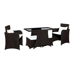 Artesia 5-Piece Outdoor Patio Dining Set - Brave sweeping lines render the Artesia outdoor sectional set a well of inspiration for your outdoor conversations. Two high-back armchairs, partner with two open ottoman-style seats, around a cozy tempered glass table. Infuse your gatherings with purpose and an appreciation for the finer things in life in a compact set built to last.