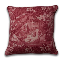 Mary Jane McCarty Studio - Harem Pillow A, Rouge, With Insert - The pillow cover is made from The Mary Jane McCarty Studio collection of fabrics. The fabrics have been  re- created from 19th century document textiles . The pillow is backed with a coordinating natural Belgian linen and features an envelope closure. Please allow 2 to 3 weeks for delivery as pillows are made to order. Can be purchased as cover only or with insert.