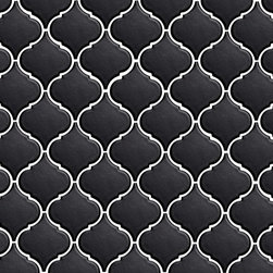 Tessen Black - Ceramic tile in an arabesque shape, adding Mediterranean flair to any surface inside or outside the home.