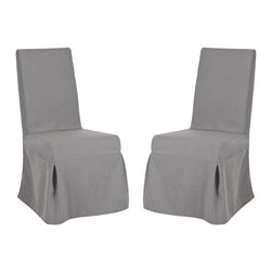 Safavieh - Tungston Dining Chair (Set of 2) - Designed for maximum drama when placed around a table, the Tungston Dining chair in arctic grey fabric is brimming with dressmaker details, from self-welting to front kick pleats and an inverted back pleat that's neatly closed with four pretty bows. Equally striking in living room or bedroom, Tungston is crafted with birch wood legs in cherry mahogany finish.