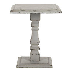 Safavieh - Safavieh Angela Fir Wood Pedestal Side Table in Antique White - Safavieh - End Tables - AMH4105A - It might hold the candle that illuminates the boudoir or display the photo of your beau alongside the sofa. There is no limit to the vintage romance of the Angelica Pedestal Side Table. Crafted with fir Wood for a vintage look and bathed in crusty antique white it is the ideal place to display all objects cherished and adored.