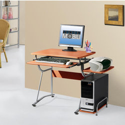 "Techni Mobili - Compact Computer Desk with Keyboard Tray and Side Accessory Shelf - Features: -Compact computer desk.-Slide out keyboard shelf equipped with a safety stop.-Side accessory shelf.-Side CPU shelf with a protective bar.-Desk capacity: 80 lbs.-Shelves capacity: 30 lbs.-Frame construction: Scratch resistant powder coated steel.-Heavy duty engineered wood panels with a moisture resistant PVC laminate veneer.-Color: Cherry.-Distressed: No.-Desk Type: Computer Desk.-Top Finish: Cherry.-Base Finish: Cherry.-Accent Finish: Steel.-Powder Coated Finish: Yes.-Gloss Finish: No.-UV Finish: No.-Top Material : Manufacturing Wood; Laminate.-Base Material: Steel.-Water Resistant: Yes -Water Resistant Details: Water Resistant..-Stain Resistant: No.-Heat Resistant: No.-Design: Standard Desk.-Collection: Techni Mobili.-Cable Management: No.-Keyboard Tray: Yes.-Height Adjustable: No.-Drawers Included: No.-Jewelry Tray: No.-Exterior Shelving : No.-Scratch Resistant: No.-Chair Included: No.-Weight Capacity: 80 lbs.Specifications: -FSC Certified: No.-EPP Certified: No.-CARB Compliant: No.-ISTA 3A Certified: No.-Green Guard Certified: No.Dimensions: -Overall Product Weight: 37 lbs.-Overall Height - Top to Bottom: 30"".-Overall Width - Side to Side: 43"".-Overall Depth - Front to Back: 20.5"".-Drawer: No.-Shelving: No.-Seat: No.-Desktop Height: 30"".-Desktop Width - Side to Side: 31.5"".-Desktop Depth - Front to Back: 20.5"".-Knee Space Height: 26"".-Knee Space Width: 26"".-Knee Space Depth: 20.5"".-Hutch : No.-Legs: -Leg Height: 30"".-Leg Width - Side to Side: 2"".-Leg Depth - Front to Back: 2""..Assembly: -Assembly Required: Yes.-Additional Parts Required: No.Warranty: -Manufacturer provides 5 years limited warranty.-Product Warranty: 5 Year Limited Warranty."