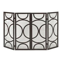 """Imax - Winnoa Fireplace 4 Panel Screen Modern Pattern Finish 29"""" x 25"""" - Imax 85455 winnoa fireplace 4 panel screen modern pattern black finish 29"""" x 25"""""""