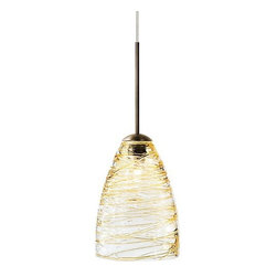 LBL Lighting - LBL Lighting Flow Amber Monopoint 1 Light Track Pendant - LBL Lighting Flow Amber Monopoint 1 Light Track PendantThe transparent blown glass cone of this trendy pendant features Amber colored strands drizzled all around, giving it a unique and beautiful look that will complement any decor.Each Monopoint lighting fixture includes a single-point canopy with built-in transformer right out of the box for a quick and easy installation.LBL Lighting Flow Amber Monopoint Features: