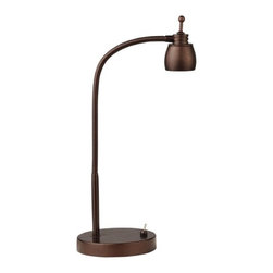 LEDs by ZEPPELIN - LED Task Lamp with Gooseneck Arm in Bronze Finish - 5600K LED - 821-BZ - This sleek LED lamp packs a bright punch in a small package. The integrated LED is 5-watts, 250 lumens, and has a 5600K color temperature. Rated to last an average of 30,000 hours. Takes (1) 5-watt LED bulb(s). Bulb(s) included. UL listed. Dry location rated.
