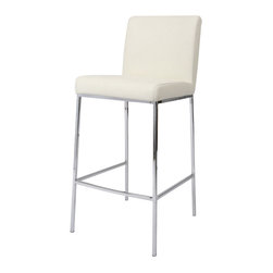 """Pastel Furniture - Pastel Emilia Barstool - Chrome - PU Ivory Seat - 26 Inch - The contemporary Pastel Furniture Emilia barstool has a simple yet elegant design that is perfect for any decor. An ideal way to add a touch of modern flair to any dining or entertaining area in your home. This barstool features a quality metal frame with sturdy legs and foot rest finished in chrome. The padded seat is upholstered in PU ivory offering comfort and style. Available in 26"""" counter or 30"""" bar height."""