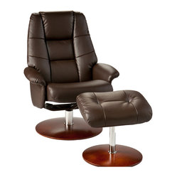 Torwood Leather Recliner and Ottoman, Brown