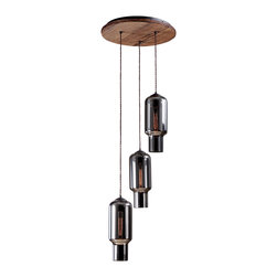 Reclamations - NEW YORKER Industrial Inspired, Triple Pendant Light, (with Mirror Glass) - The New Yorker triple pendant light is inspired by New York City's 1930's art deco and industrial buildings.