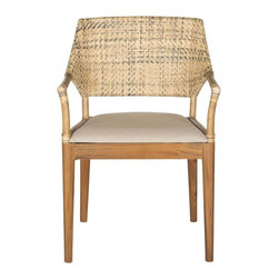 Safavieh - Frazer Arm Chair - Urban safari. Inspired by artistic sketches found in vintage travel journals, the Frazer arm chair is a conversation piece. Crafted with a rich rattan weave and accented with rawhide details, its brown cushion and slender mahogany legs make it design coup.